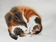 "Saatchi Art Artist Olga Flerova; Painting, ""October's cat"" #art"