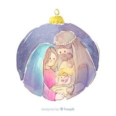 Watercolor artist Jennifer Olson offers custom watercolor portraits at Fiore Design Studio Christmas Nativity, Christmas Clipart, Christmas Art, Christmas Decorations, Christmas Ornaments, Diy Xmas, Christmas Cards To Make, Catholic Art, Mothers Day Crafts