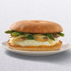Einstein Bros Mushroom and Asparagus Eggwhite Thin Bagel Sandwich