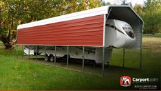 A custom RV cover keeps your mobile home safe from the elements when it is off the road. Free local delivery and installation with your consultation. Rv Shelter, Shelters, Metal Rv Carports, Metal Building Prices, Carport Covers, Rv Garage, Rv Homes, Metal Buildings, Mobile Home
