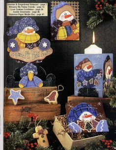 Cookies and Cocoa - Dona Natalina! Snowman Decorations, Snowman Crafts, Book Crafts, Crafts To Do, Christmas Crafts, Craft Books, Christmas Cookies, Tole Painting, Painting On Wood