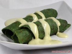 Špenátové palacinky so syrovou omáčkou, recept Asparagus, Green Beans, Zucchini, Ale, Sausage, Food And Drink, Meat, Vegetables, Foods