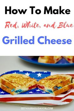 Amazing grilled cheese that's packed with red white and blue. This is seriously the coolest red, white, and blue color themed sandwich I've ever had! Brushed with butter, colored cheese, put on a 3-cheese baked bread. This crispy and cheese melted sandwich is sure to be a hit this Memorial Day or Fourth of July! Best Grilled Cheese, Grilled Cheese Recipes, How To Make Red, Favorite Holiday, Holiday Fun, Few Ingredients, Melted Cheese, Bread Baking, Tofu