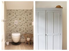 """Par l'agence """"EntreLesMurs"""" - WC - papier peint - armoire parisienne"""