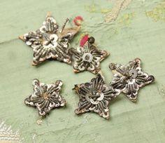 5 lingots de métal antique lot étoiles art déco garniture argent ruban 1920 ribbonwork chapellerie garniture clapet 1900s 1920 edwardian chapellerie