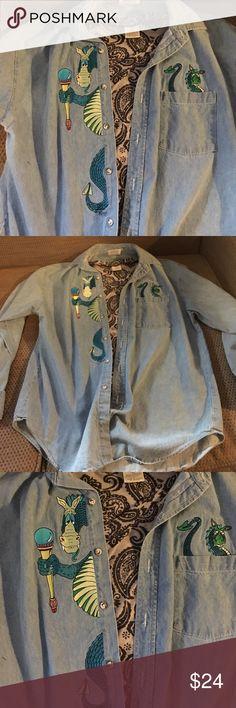 Dragon Chambray Shirt Found for a dragon loving customer Vintage Tops Button Down Shirts