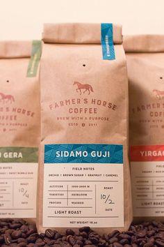 Christopher Caldwell - Farmer's Horse Coffee - World Brand Design Food Packaging Design, Coffee Packaging, Coffee Branding, Branding Design, Coffee Labels, Design Typography, Design Logo, Bag Design, Type Design