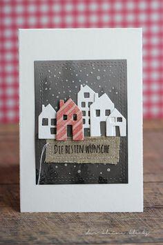 der kleine klecks: Mary-Jane´s Weihnachtskarten Challenge No. 1 & 2 - Der Katalog Häuser maisons du monde von Kesi´art Strukturpaste Schneeflocken wonky stitches avery elle