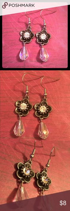 """Rhinestone Flower Teardrops Handmade Earrings New Handmade by me using glass beads with silver plated earring hooks and rhinestone set charms.  Measures pass 3"""" long.  Smoke free home.  I'm happy to bundle orders and accept reasonable offers. Jewelry Earrings"""