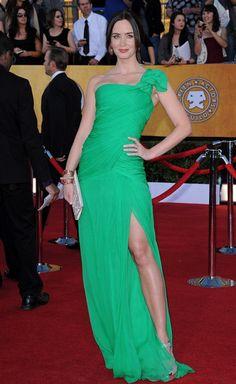 Emily Blunt One Shoulder Dress - Emily Blunt Looks - StyleBistro
