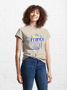 """Text graphic France map, Text Map Of France with largest cities"" T-shirt by mashmosh 