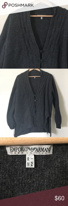 "{ Emporio Armani } button down sweater Sweater with hook buttons, slight collard look, side slits, material tag is off but feels like a wool/Cashmere blend (not certain), previously worn and washed and shows wear to it but in good condition still. Measures laying flat approx 23.5"" pit to pit 27"" mid shoulder tip down. This looks even better on! Please see tag picture for sizing Emporio Armani Sweaters V-Neck"