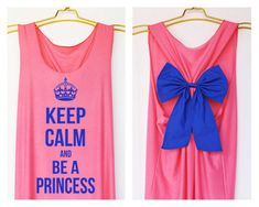Keep calm and be a princess Premium Tank Pink color with Bow : Dolly Bow Handmade Premium Tank with Bow styles