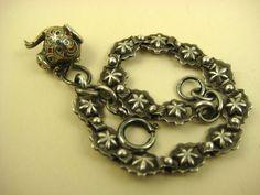 Superb French Silver & Enamel Breloque Charm Bracelet ~ c1870