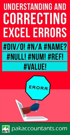 Excel errors are daunting for many. Before we know how to correct them, knowing what causes them will help us get rid of them before they even pop up. Get around errors with this guide on Excel. Free Excel, dashboard formula core book and Computer Lessons, Computer Help, Computer Programming, Microsoft Excel, Microsoft Office, Educational Leadership, Educational Technology, Excel For Beginners, Excel Hacks