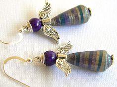 Paper Bead Jewelry -  Angel Earrings - #714
