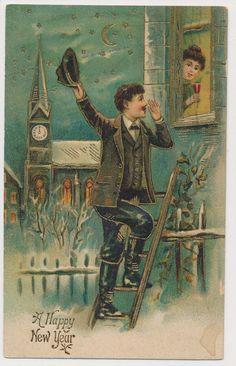 A Happy New Year Man on Ladder Woman in Window 1913 | eBay