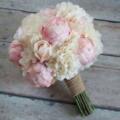 Love the combination of soft blush roses and peonies accented with ivory hydrangeas and burlap in this silk wedding bouquet. Shabby Chic Wedding Bouquet - Peony Rose and Hydrangea Ivory and Blush Wedding Bouquet with Burlap Wrap by Kate Said Yes Weddings: Peony Bouquet Wedding, Peonies Bouquet, Bride Bouquets, Floral Wedding, Peonies And Hydrangeas, Pink Hydrangea Bouquet, Silk Wedding Flowers, Bridesmaid Bouquets, Flower Bouquets