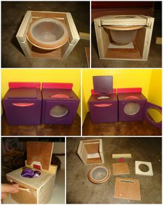 Homemade Barbie doll house spinning washer and dryer. My daughter likes the littles details when she plays so I created this spinning set for her doll house. I used an applesauce container but wish i used a little deeper container. Just put the barbie clothes in and spin away. The dryer lid has a piece of pexi glass so you can see what your drying.