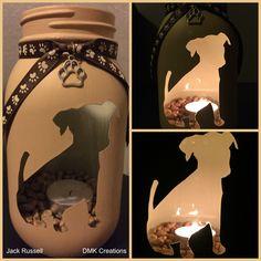 Jack Russell Painted Mason Jar Tea Light Candle Holder, jack russell, dog, mason… – Famous Last Words Mason Jar Projects, Mason Jar Crafts, Mason Jar Diy, Bottle Crafts, Purple Mason Jars, Pot Mason, Distressed Mason Jars, Pastel Decor, Dog Crafts