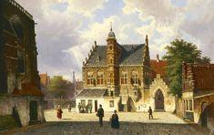 Koekkoek W. | Willem Koekkoek, Zomers stadsgezicht met figuren, olieverf op doek 45,0 x 70,9 cm, gesigneerd l.o.ini en gedateerd '65