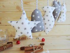 Vánoční dekorace - šedé hvězdy