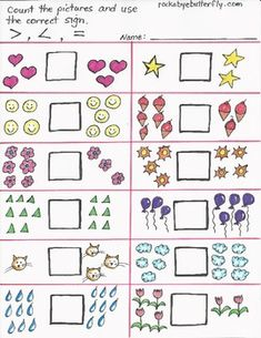 Greater Than, Less Than Hand-Drawn Printables by Rockabye Butterfly Printable Math Worksheets, Free Kindergarten Worksheets, Kindergarten Math Worksheets, Phonics Worksheets, School Coloring Pages, 1st Grade Math, Free Math, Math For Kids, School Fun