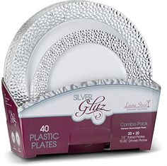 Laura Stein Designer Tableware Set of 40 White Party Plates With Hammered silver Border Glitz Series Includes 20 -7.5'' Salad Plates & 20- 10.75'' Dinner Plates Heavy Plastic Disposable Dishes Combo. For product & price info go to:  https://all4hiking.com/products/laura-stein-designer-tableware-set-of-40-white-party-plates-with-hammered-silver-border-glitz-series-includes-20-7-5-salad-plates-20-10-75-dinner-plates-heavy-plastic-disposable-dishes/