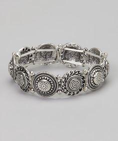 Silver Circle & Swirl Stretch Bracelet by Treska #zulily #zulilyfinds