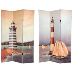 This Magnificent Room Divider Features Beautifully Unique Turn Of The  Century Light House Beach Paintings.
