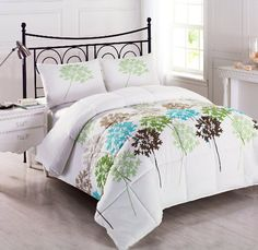 Cozy Beddings Allium Reversible Down Alternative Floral Comforter Set, Queen, White/Coffee/Blue/Grey/Green/Sage Cheap Comforter Sets, Green Comforter, Floral Comforter, Queen Bedding Sets, Queen Comforter Sets, Duvet Sets, Twin Comforter, Samara, King Size Comforters
