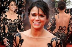 Michelle Rodriguez is the queen of Cannes in a cut-out lace back dress.