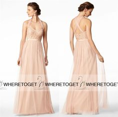 Pink Bridesmaid Dress Bhldn Blush Long Bridesmaid Dresses 2015 A Line Halter Lace Tulle Wedding Party Dresses Custom Made Maid Of Honor Dress Gowns Dresses From Wheretoget, $77.87| Dhgate.Com