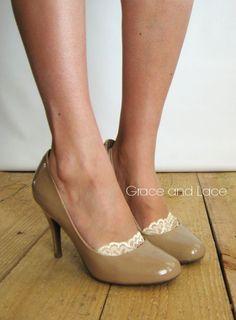 Lace Peep Socks NUDE lace socks lacey sock by GraceandLaceCo