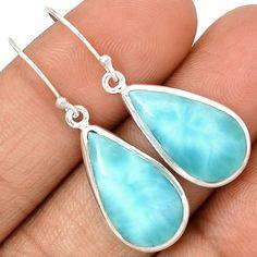 Larimar - Dominican Republic 925 Sterling Silver Earrings Jewelry LRIE1173