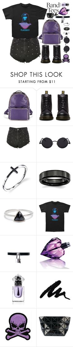 """Band tees: Placebo!"" by nvoyce ❤ liked on Polyvore featuring Valentino, Dr. Martens, Topshop, Bing Bang, Diesel, Guerlain, Logophile, Bao Bao by Issey Miyake and bandtees"