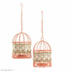 Set of 2 - Spring Peach Wire Bird Cages Metal Tealight Candle Holder - French Wedding Hanging Lanterns - Home Decor