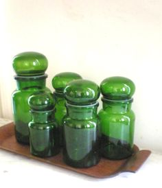 Vintage Belgium Green Glass Canister Set / Toast by GreenZebre, $85.00