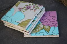 Decorative Ceramic Coaster Set of 4 by SecondHandNews on Etsy, $10.00