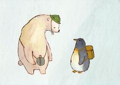 """""""Hello (A Polar Bear Wearing a Hat Meets a Penguin Wearing a Backpack)"""" by shu on allography.com"""
