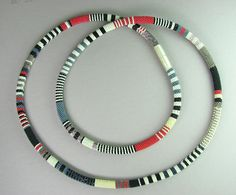 Bead Crochet Necklace - African by Julie Long Gallegos. Size 10 Delicas - Japanese-made seed beads known for their excellent uniformity of shape and wonderful color range - are crocheted into a necklace of 48