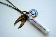 Salt & Burn Necklace -- Supernatural Inspired -- Demon Protection -- Angel's Wings -- Charm Necklace -- Bottle Necklace