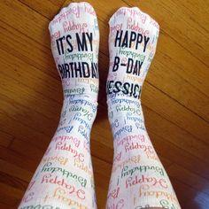 Full Print Custom Happy Birthday Socks - Personalized Name Socks - Adult Unisex Size fits Most