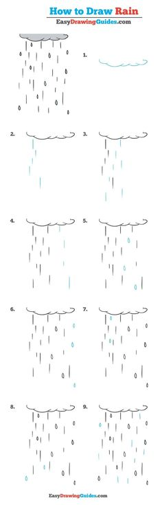 Rain Flower Drawing Tutorials, Drawing Tutorials For Kids, Drawing For Kids, Art Tutorials, Flower Drawings, Drawing Rain, Nature Drawing, Plant Drawing, Drawing Lessons
