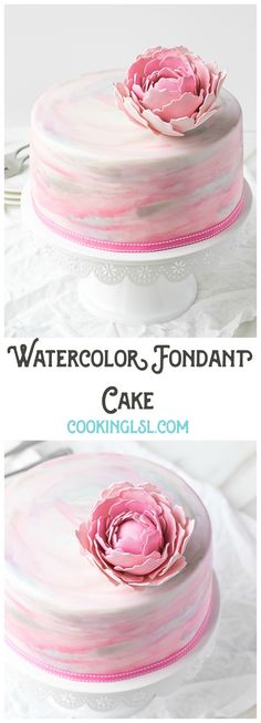 Watercolor-Fondant-Cake-my-birthday-cake-this-year-Layers-of-chocolate-cake-brushed-with-raspberry-syrup-homemade-chocolate-whipped-cream-and-covered-with-hand-painted-watercolor-fondant. Birthday Cupcakes For Women, Cool Birthday Cakes, Birthday Cake Decorating, Fondant Birthday Cakes, Decorating Cakes, Pretty Cakes, Beautiful Cakes, Chocolate Whipped Cream, Homemade Chocolate