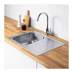 IKEA - BOHOLMEN, Single bowl top mount sink, 25-year Limited Warranty. Read about the terms in the Limited Warranty brochure.Reversible, so you can use it with the drainboard on the left or right.The sink has no pre-drilled holes so you can choose where to place the faucet.Sink in stainless steel, a hygienic, strong and durable material that's easy to keep clean.To make a hole for the kitchen faucet FIXA 2-piece tool set can be recommended; sold separately.