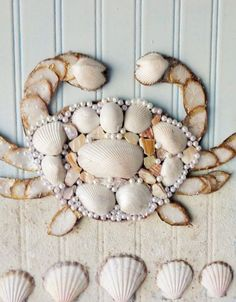 Coastal Art Seashell Crab Collage Mixed Media by MidorisMyMuse