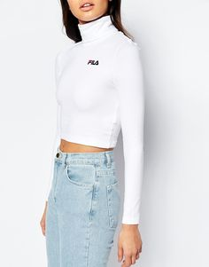 Image 3 ofFila Cropped Roll Neck Long Sleeve Top With Small Logo