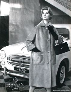 L'Officiel December 1958  Advertisement for Amaryllis fashion   Car Peugeot 403