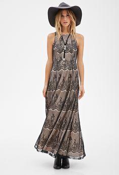 Lace Overlay Maxi Dress | LOVE21 - 2000099006